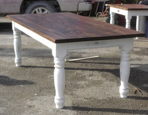 "7'x40"" Vintage Pine w 4 1/2"" Turn Leg. Antiqued White base"