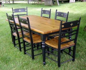 6 ft New Pine Table Black/Turn Legs Base w Natural Seats and Black Cloverleaf Chairs
