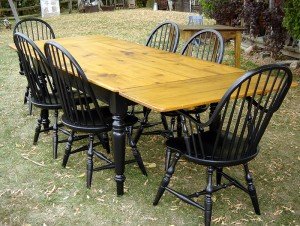 Six foot Extension Table with Black Traditional Windsor Chairs