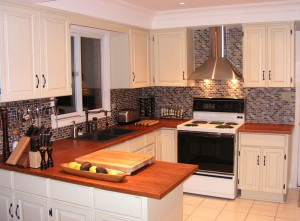 Custom Kitchen, Cherry Countertops, White Cabinets