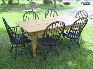 Harvest Table & Chairs-72x38 - New Pine Harvest Table with Windsor Side Arm Chairs Painted Black Distressed