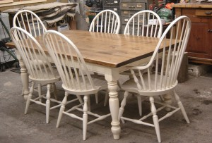 "6 1/2'x38"" Turn Leg Harvest Table w Highback Windsor Chairs"