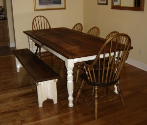 "7 1/2'x40"" Turn Leg White Base Harvest Table w 6ft Farmhouse Bench and Highback Windsor Chairs"