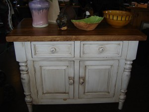 "Butcher Block Counter, 48""w 28&quotld 36""h. Antique White"