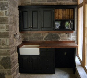 Custom Kitchen, Vintage Pine Countertops, Farmhouse Sink